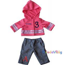 Babaruha - farmernadrág pink felsővel, 21 cm-es babához, Miniland-ovodavilag.hu