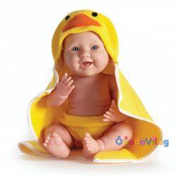 Berenguer ültethető fiú karakterbaba sárga kacsás fürdőlepedőben 43cm