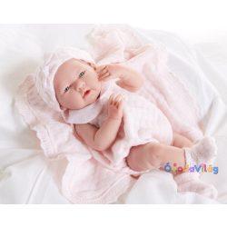 Berenguer játékbabák- újszülött lány rózsaszín kötött ruhában