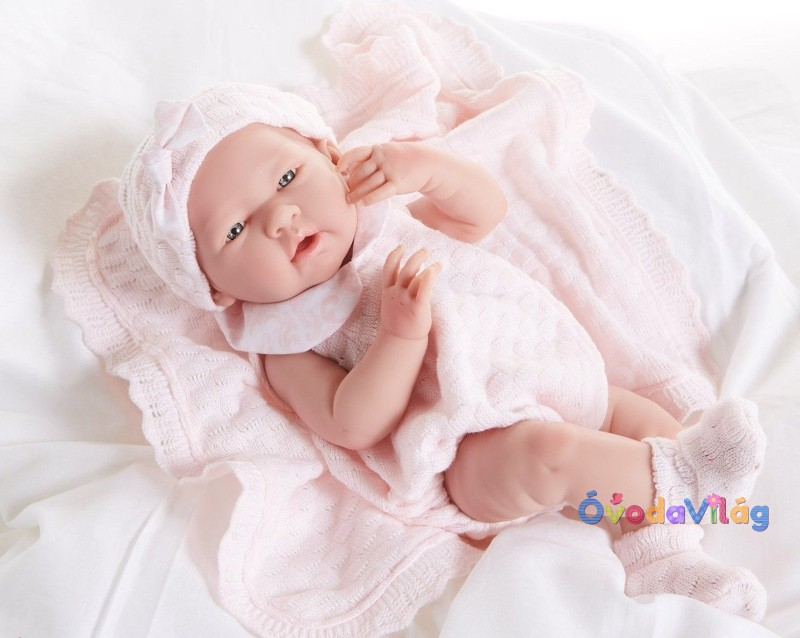 Berenguer játékbabák- újszülött lány rózsaszín kötött ruhában ... 7e1975c947