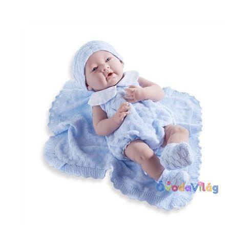 Élethű Berenguer Játékbabák-újszülött fiú luxus baba kék kötött ajándék takaróval 38cm