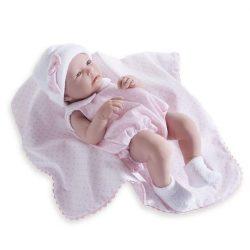 Újszülött élethű játékbaba pöttyös ruhában