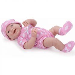 Élethű újszülött játékbaba lány pöttyös ruhában