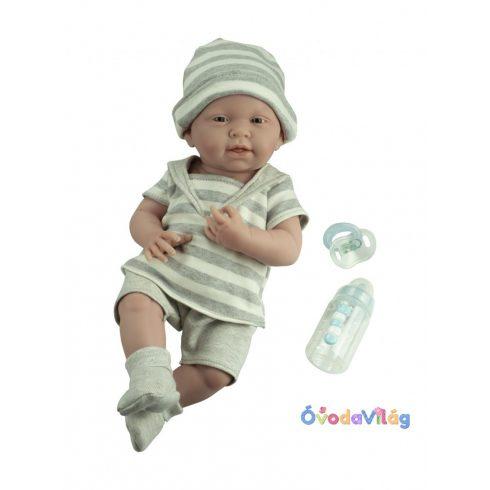 Berenguer Élethű játékbaba újszülött fiú csíkos ruhában 38 cm