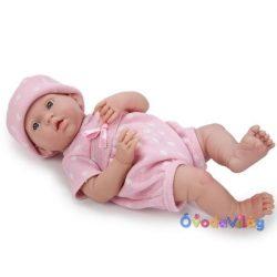 Élethű mosolygós játékbaba pöttyös ruhában-Berenguer-ovodavilag.hu