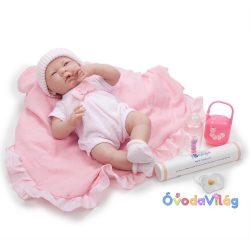 Élethű Berenguer Játékbabák újszülött lány rózsaszín masnis ruhában sapkával - kiegészítőkkel 39cm