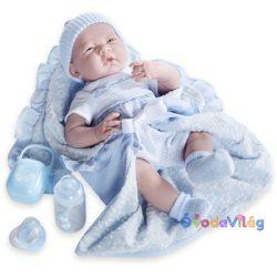 Élethű Berenguer Játékbabák - újszülött fiú luxus baba kék ruhában kiegészítőkkel 39cm