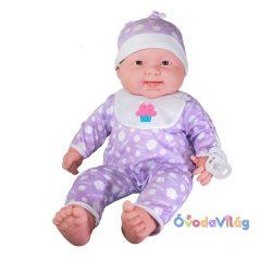 Berenguer Élethű játékbaba 51 cm-es puhatestű baba, lila pizsamában