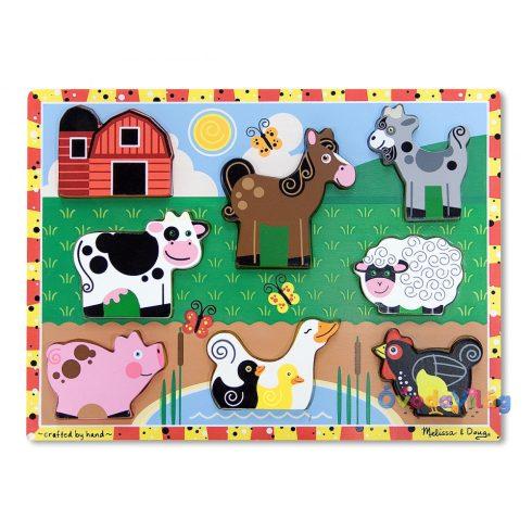 Melissa & Doug Készségfejlesztő játék, Könnyen megfogható puzzle, farm