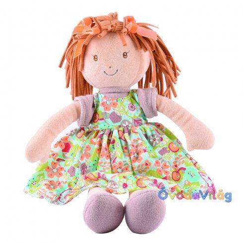 Libby Lu – Barna hajú nyomott narancssárga ruhás rongybaba