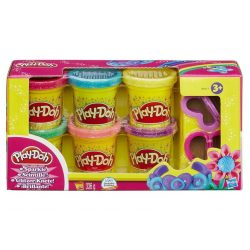 Play-Doh 6db-os csillogó gyurmaszett kiszúróval