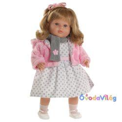 Carla szürke pöttyös ruhás beszélő baba-Berbesa