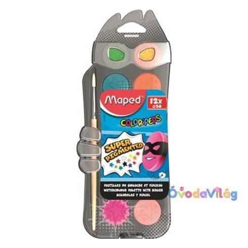 Vízfesték készlet 12db-os MAPED 30mm-es korong + ajándék ecset - ovodavilag.hu