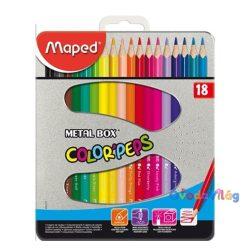 """Színes ceruza készlet 18db-os MAPED """"Color Peps"""" fém dobozban - ovodavilag.hu"""