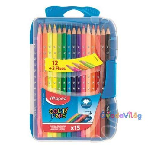 Színes ceruza készlet 15db-os MAPED Smart Box, műanyag dobozban - ovodavilag.hu
