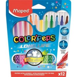 "Filc készlet 12db-os MAPED ""Color Peps Long Life"" mosható 1-3,6 mm hegy - ovodavilag.hu"