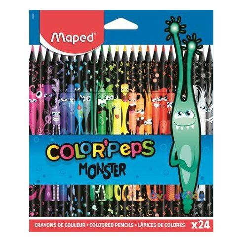 """Színes ceruza készlet háromszögletű MAPED """"Color'Peps Monster"""" 24 különböző szín"""