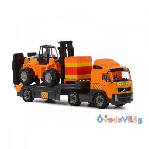 Volvo kamion targoncával és építőkockákkal 89,5 cm - ovodavilag.hu