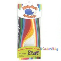 Quilling színes papír csíkok Multi Colour 12 szín 3mm 200db-ovodavilag.hu